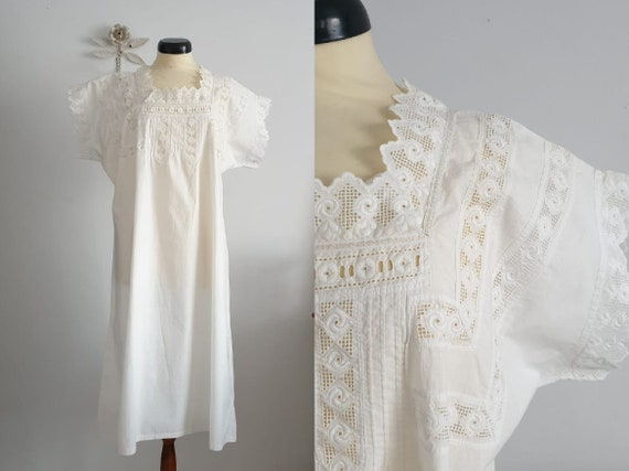 Antique cotton nightgown with eyelet embroidery in