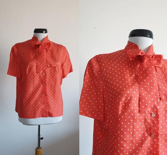1950s silk blouse | 50s polka dots blouse | vintag