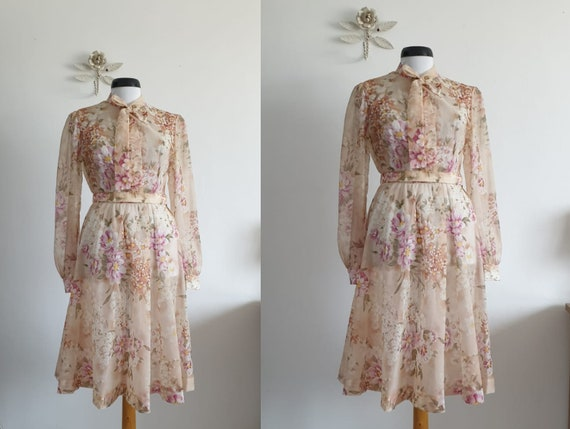 1930s silk chiffon dress | vintage 30s silk dress
