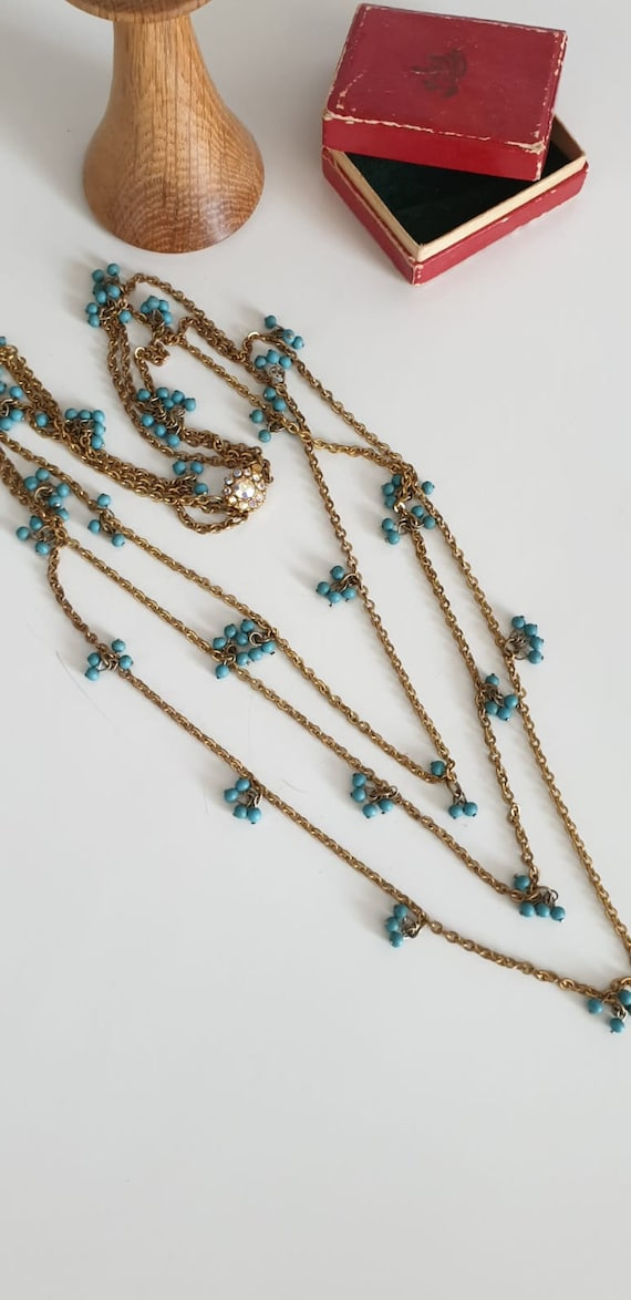 1930s necklace | vintage 30s brass and turquoise … - image 2