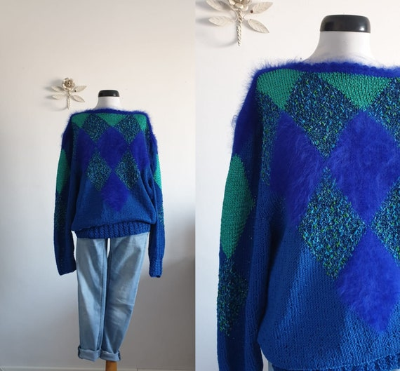 1980s turquoise cotton sweater | vintage 80s cotto