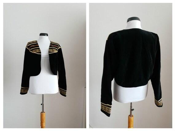 Vintage 1970s velvet jacket | 70s black velvet cro