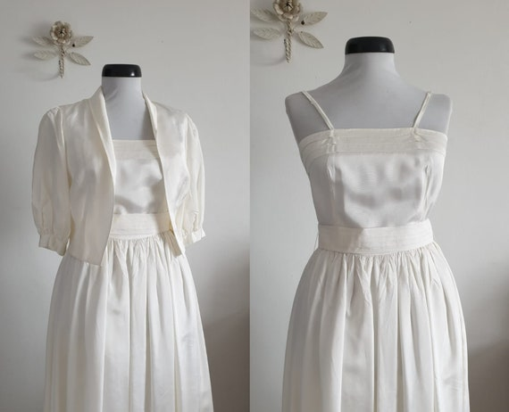 1970s white dress | vintage 70s dress and crop top