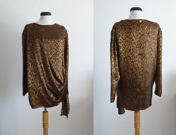1980s  animal print blouse