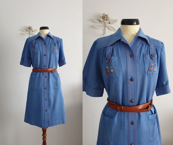 1970s denim cotton dress | vintage 70s dress