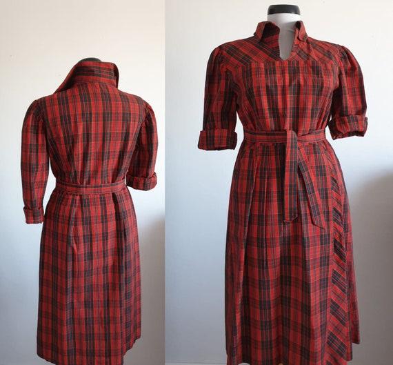 Vintage 1950s plaid dress | 50s plaid cotton dress