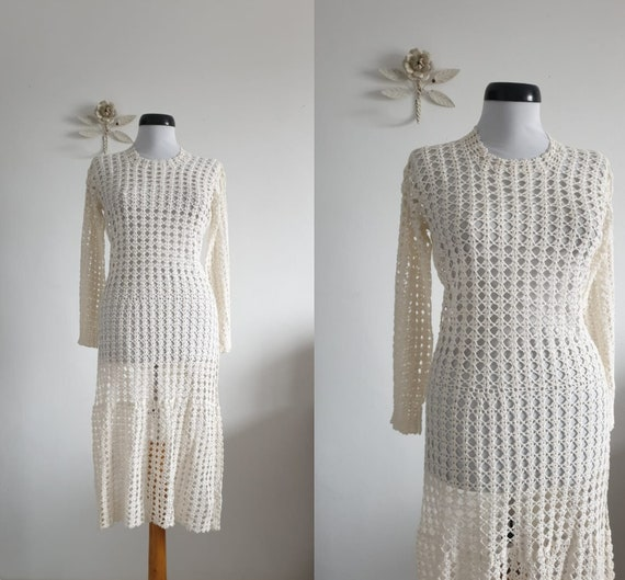 1970s  crochet dress | vintage 70s  bohemian cotto