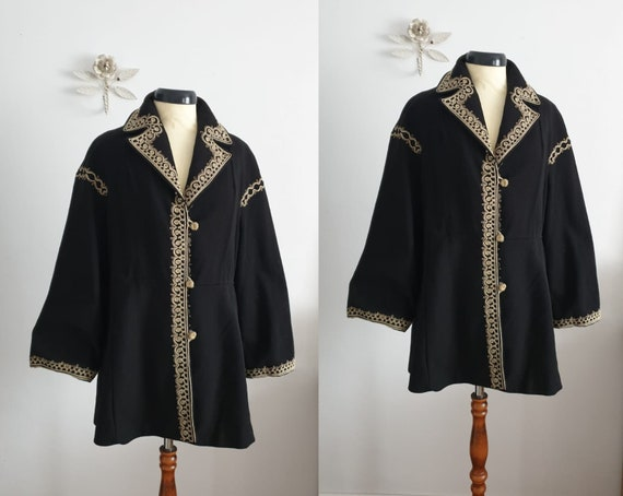 1940s black wool coat | vintage 40s embroidered co