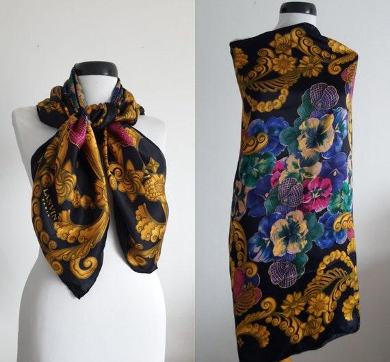 Vintage 1980s Lanvin scarf | Lanvin silk scarf  |