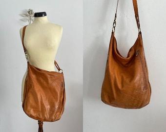 1970s leather crossbody bag   vintage 70s leather handbag