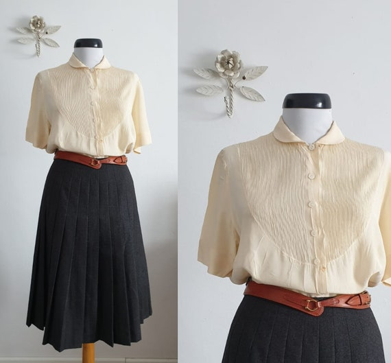 1940s silk blouse   vintage 40s silk blouse   40s