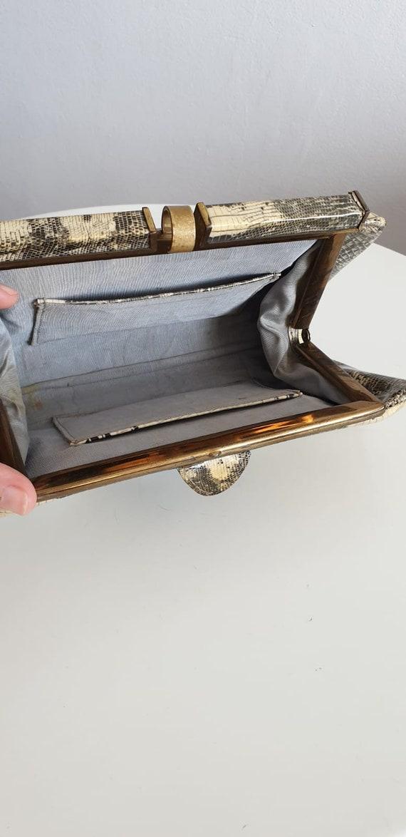 1940s patent snakeskin clutch |  vintage 1940s sn… - image 9
