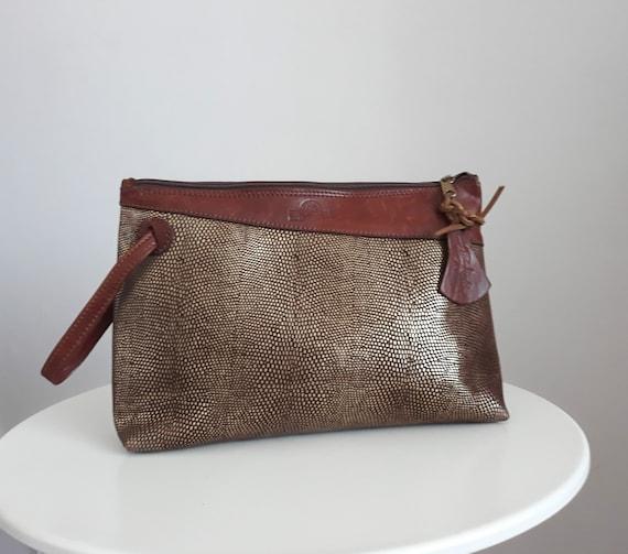 Vintage leather clutch bag |  brown leather bag |