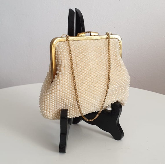 1950s pearl beaded mini purse | vintage 50s mini p
