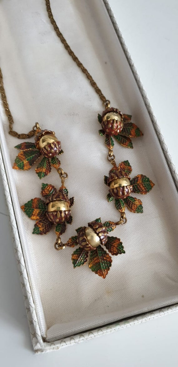 1930s necklace | vintage 30s brass and enamel nec… - image 7