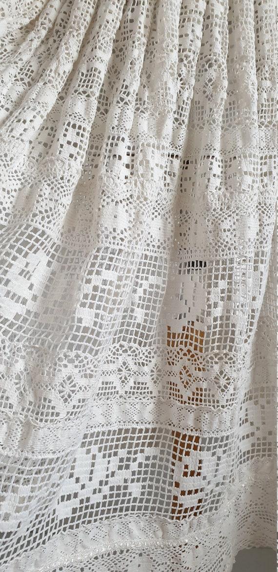 Vintage 1970s crochet dress | 70s cotton lace dre… - image 9