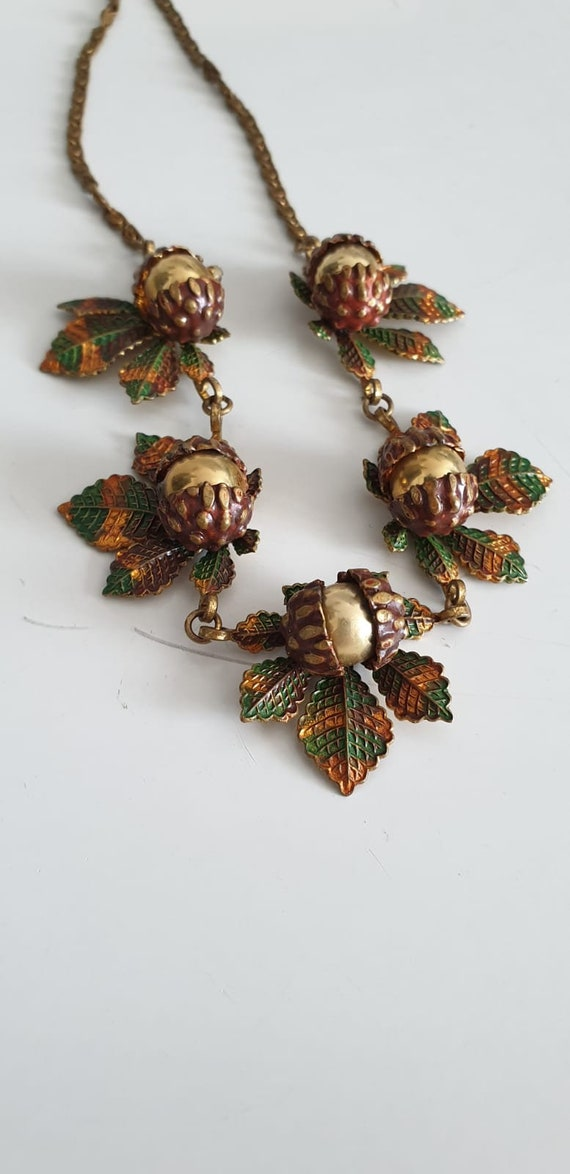 1930s necklace | vintage 30s brass and enamel nec… - image 8