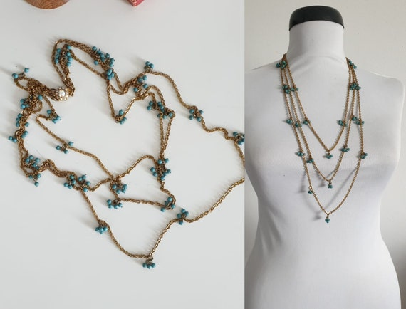 1930s necklace | vintage 30s brass and turquoise n