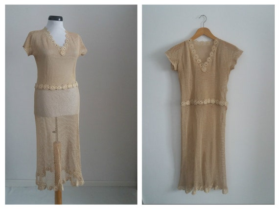 Vintage 1940s knit dress | 40s cream cotton dress
