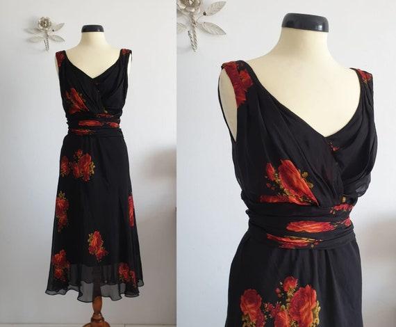 1970s  black silk dress | vintage 70s black floral