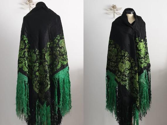 1900s black silk piano shawl | antique 1900s silk