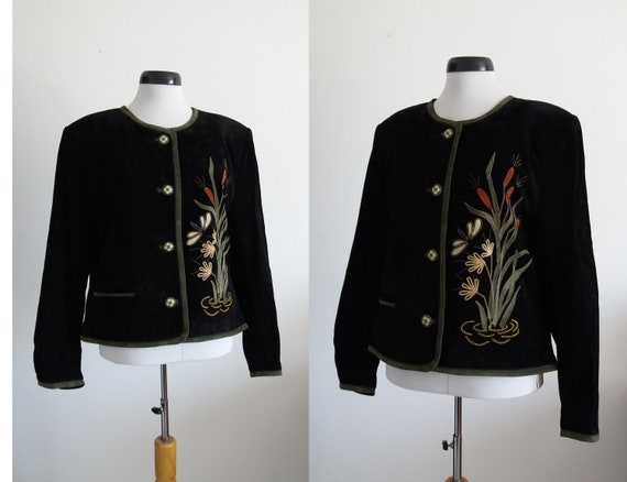 1980s black suede leather jacket | vintage 80s sue