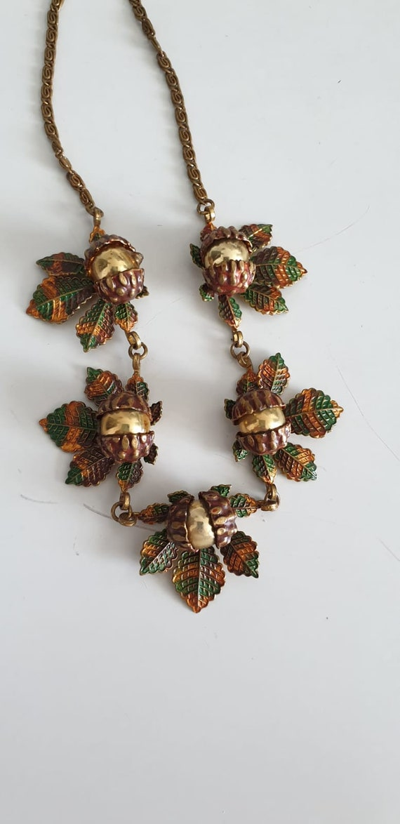1930s necklace | vintage 30s brass and enamel nec… - image 3