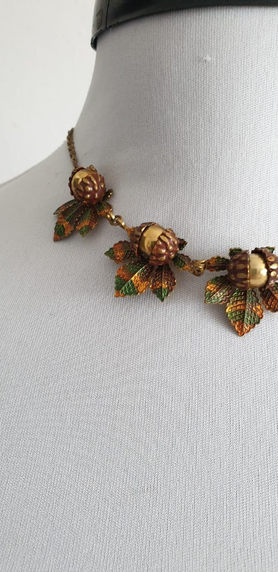 1930s necklace | vintage 30s brass and enamel nec… - image 4