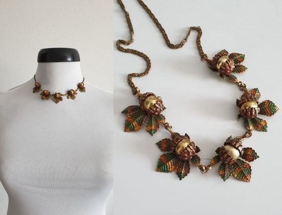 1930s necklace | vintage 30s brass and enamel neck