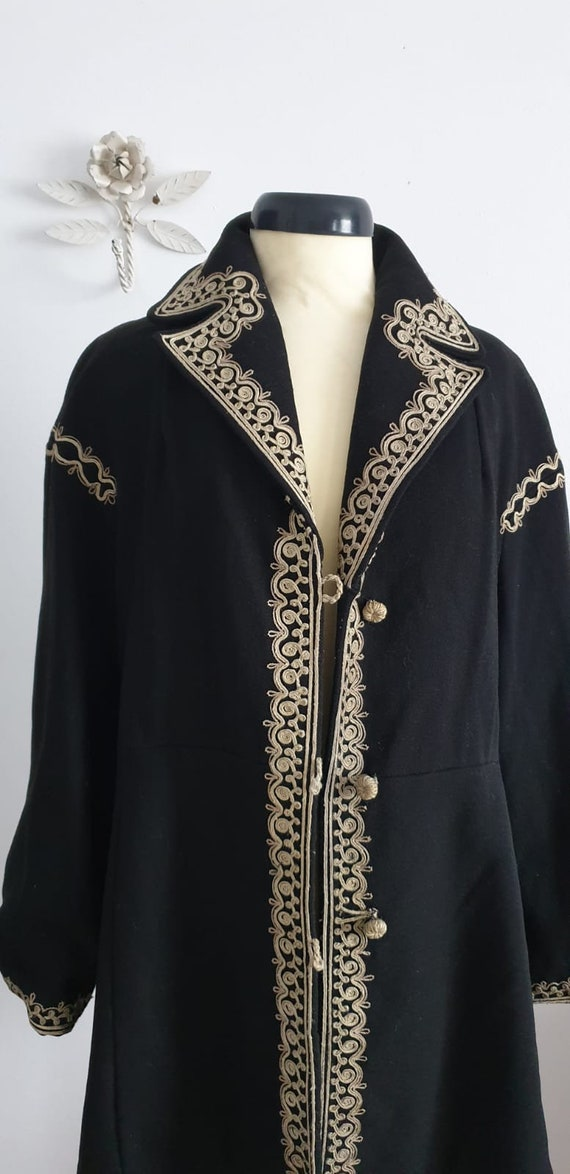 1940s black wool coat | vintage 40s embroidered c… - image 4