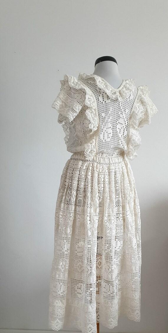 Vintage 1970s crochet dress | 70s cotton lace dre… - image 4