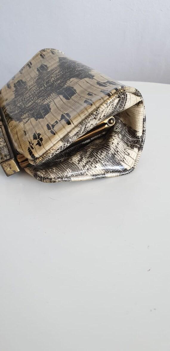 1940s patent snakeskin clutch |  vintage 1940s sn… - image 6