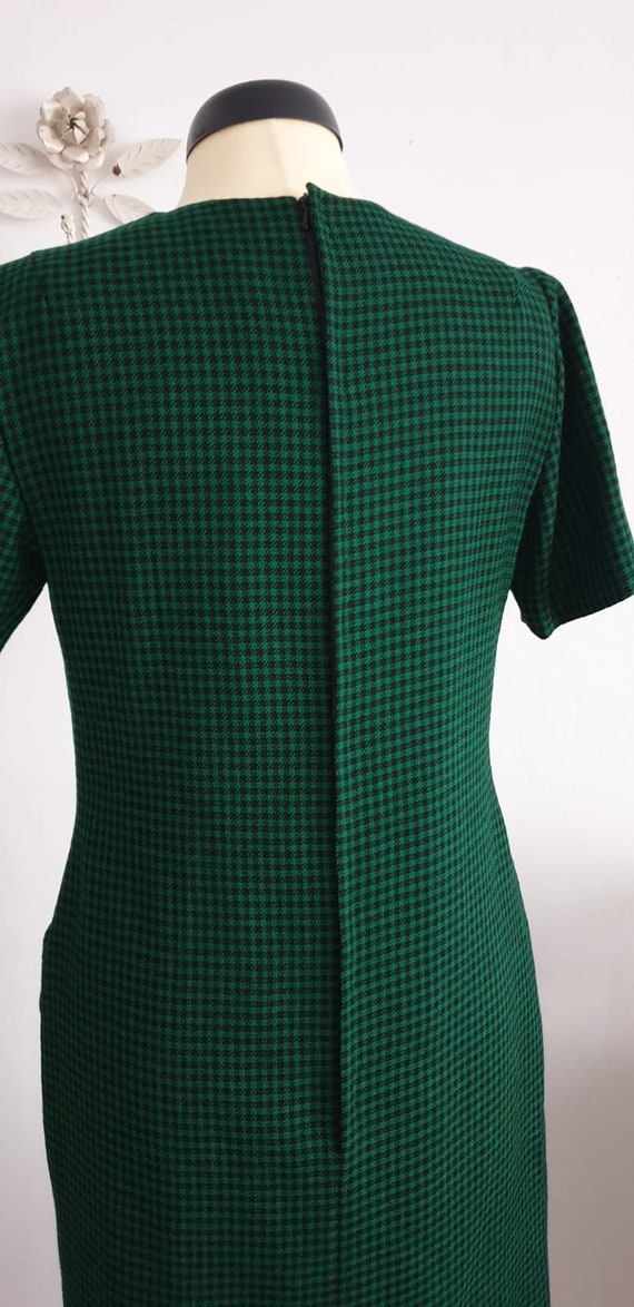 1950s green black gingham wool dress | vintage 50… - image 4