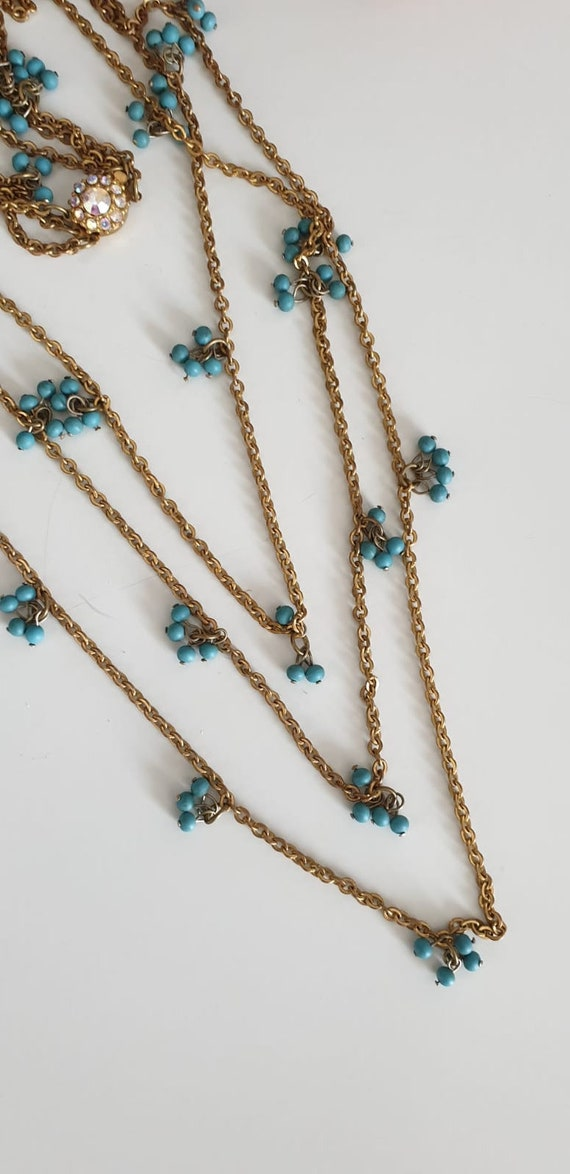1930s necklace | vintage 30s brass and turquoise … - image 3