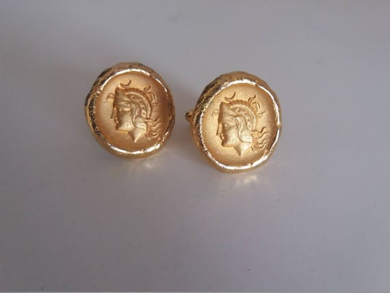 Vintage cuff links | goldplated cuff links|  cameo