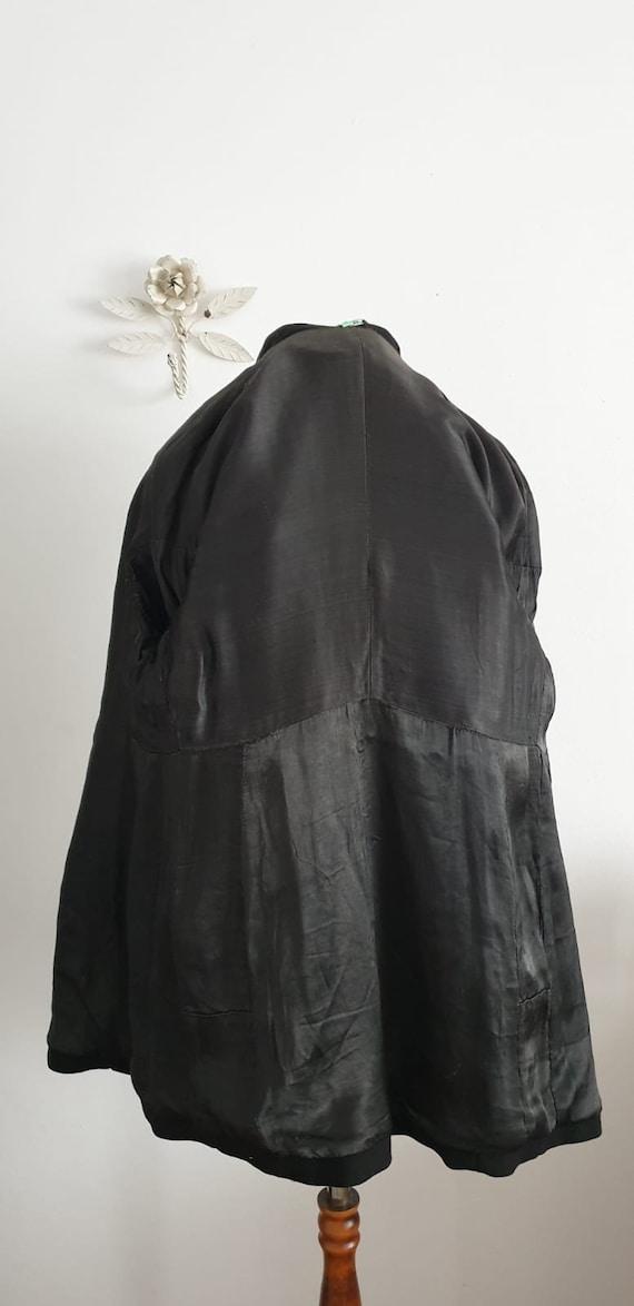 1940s black wool coat | vintage 40s embroidered c… - image 7