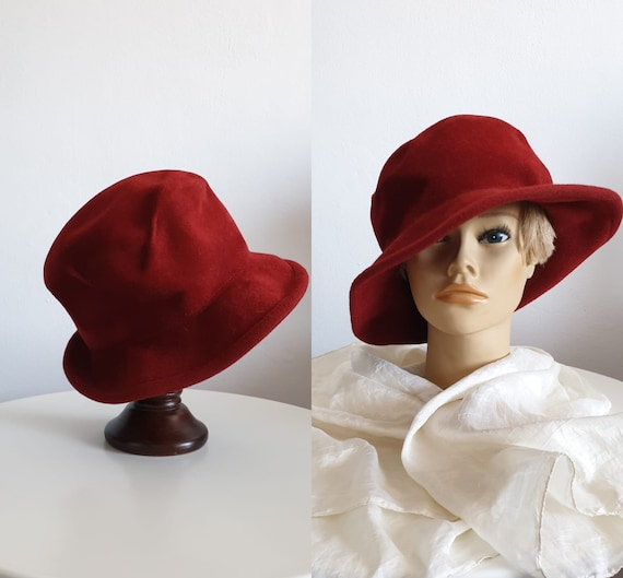Vintage 1970s fedora hat | red fedora hat | woman'