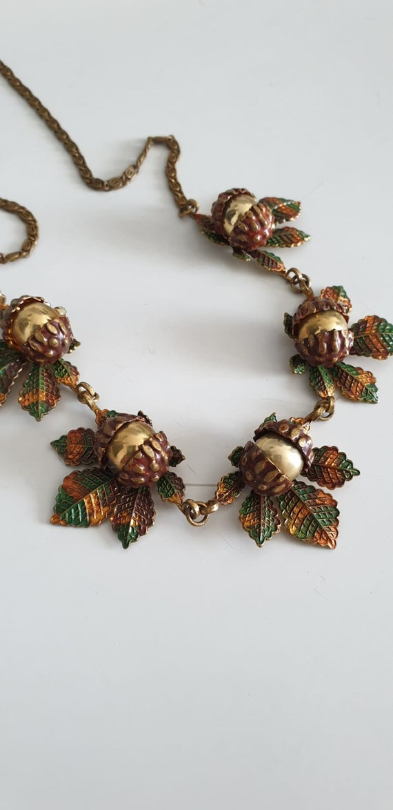 1930s necklace | vintage 30s brass and enamel nec… - image 6