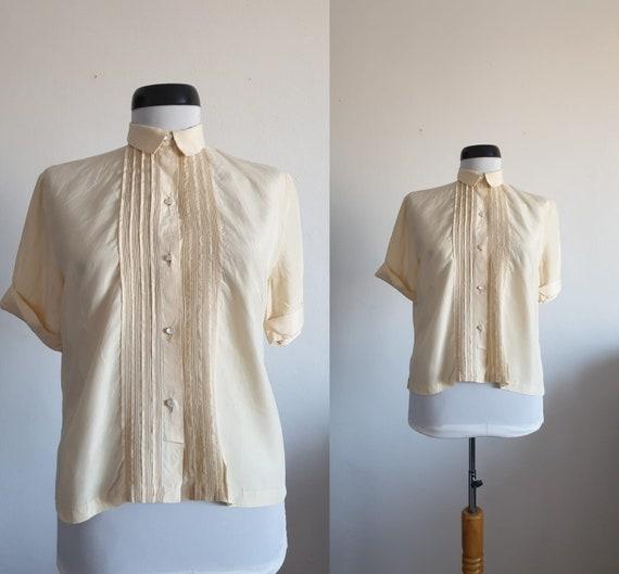 Vintage 1940s silk blouse   40s silk blouse