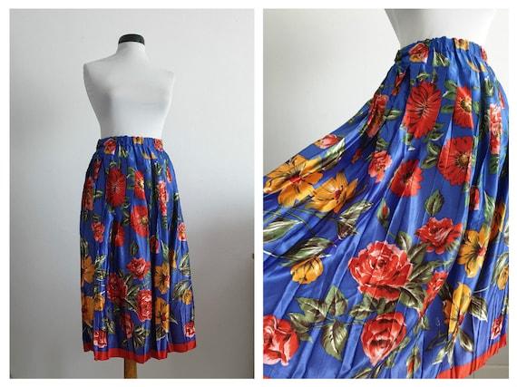 Vintage 1990s midi skirt | spring botanical midi s