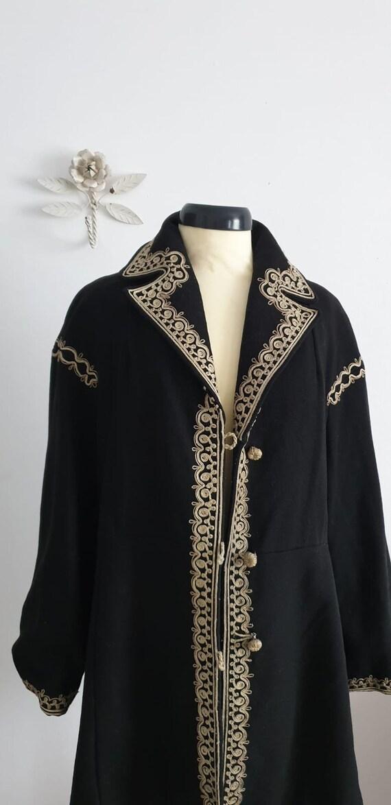 1940s black wool coat | vintage 40s embroidered c… - image 5