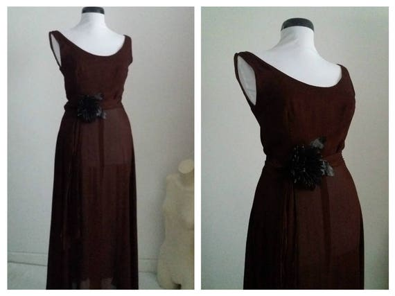 Vintage 1930s sheer dress | 30s cocoa brown dress
