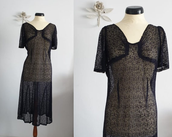 1930s navy lace dress  | vintage 30s lace dress