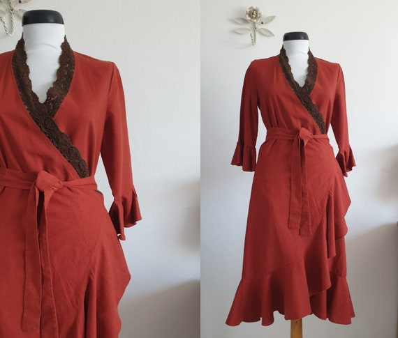Maroccan red linen wrap dress | vintage linen dres