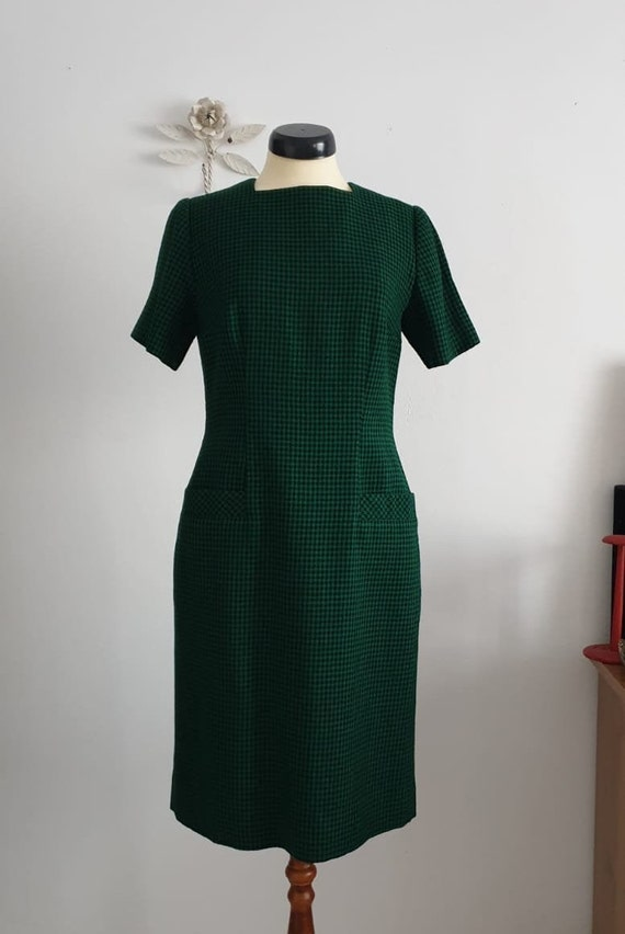 1950s green black gingham wool dress | vintage 50… - image 6