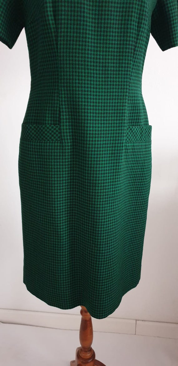 1950s green black gingham wool dress | vintage 50… - image 7