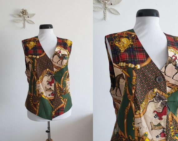 Vintage 1980s Betty Barclay  Equestrian  Silk Vest