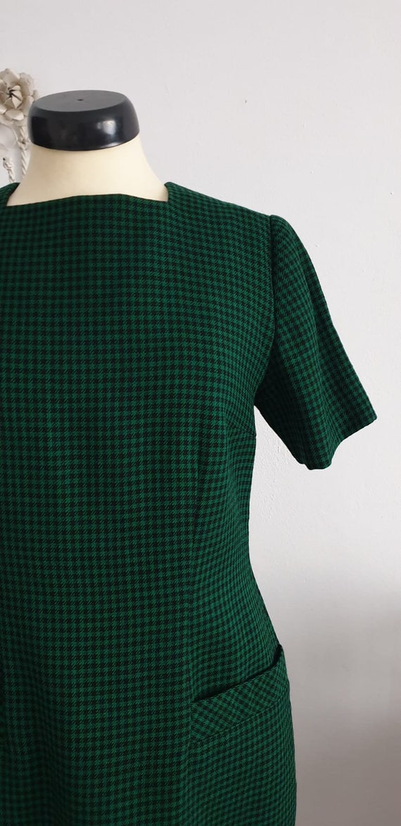 1950s green black gingham wool dress | vintage 50… - image 3