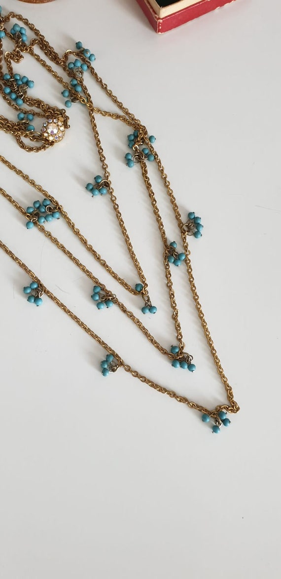 1930s necklace | vintage 30s brass and turquoise … - image 4