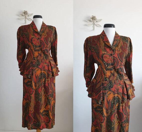 1940s cotton dress | vintage 40s brown leaf print